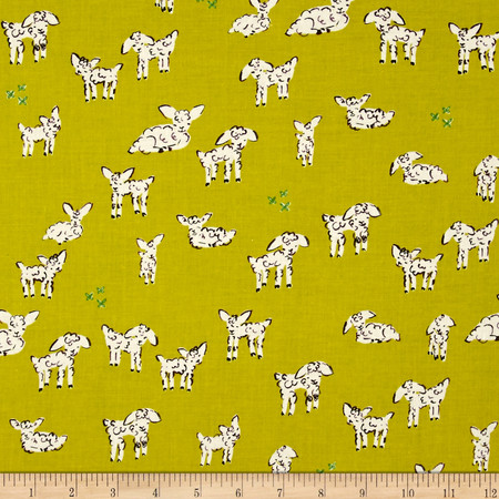 Cotton + Steel Clover Little Lambs Green Fabric By The Yard