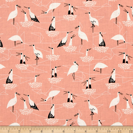 Cotton + Steel From Porto With Love Stork Net Pink Fabric By The Yard