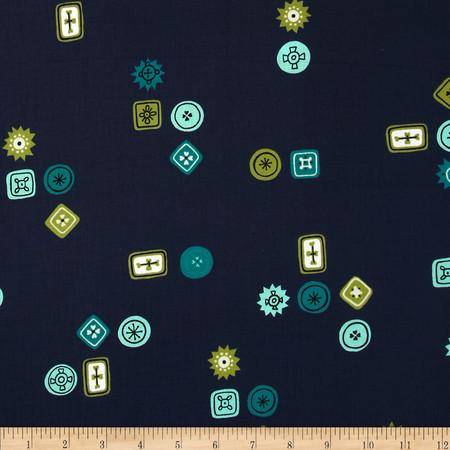 Cotton & Steel Homebody Button Jar Navy Fabric