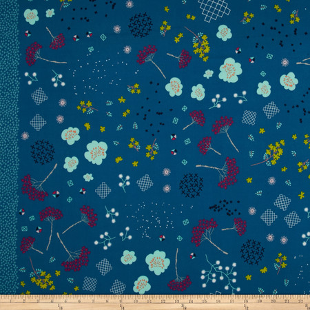 Cotton & Steel Mochi Lawn Mochi Floral Teal Fabric