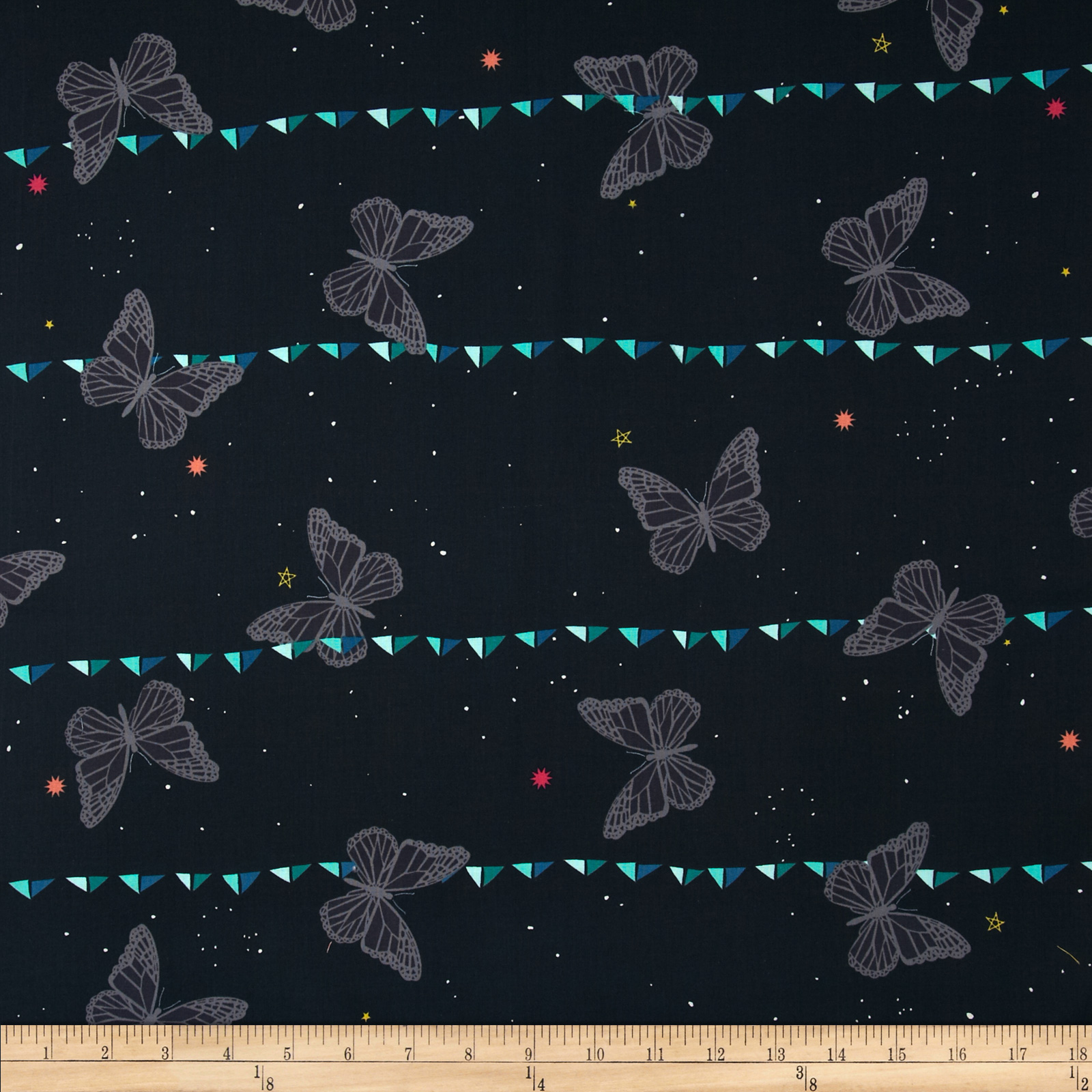 Cotton & Steel Moonlit Night Sky Butterfly Navy Fabric
