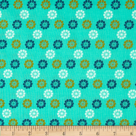Cotton & Steel Mustang Daisies Teal Fabric