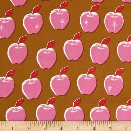 Cotton + Steel Picnic Apples Pink Fabric By The Yard