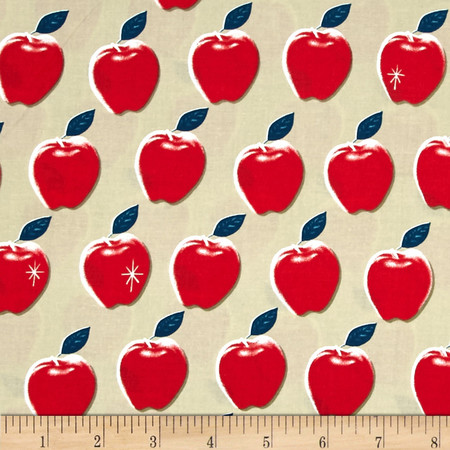 Cotton + Steel Picnic Apples Red Fabric By The Yard
