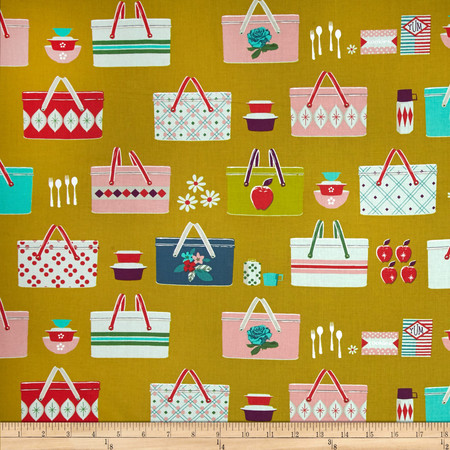 Cotton + Steel Picnic Basket Mustard Fabric By The Yard