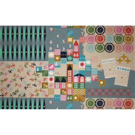 Cotton + Steel Playful Canvas Playroom Teal Fabric By The Yard