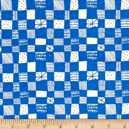Cotton + Steel Printshop Grid Blue Fabric By The Yard
