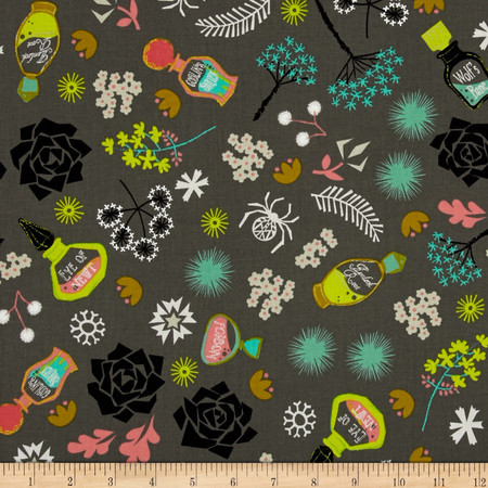 Cotton + Steel Spell Bound Witch Brew Gray Fabric By The Yard