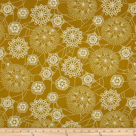 Cotton + Steel Spellbound Metallic Floral Web Mustard Fabric By The Yard