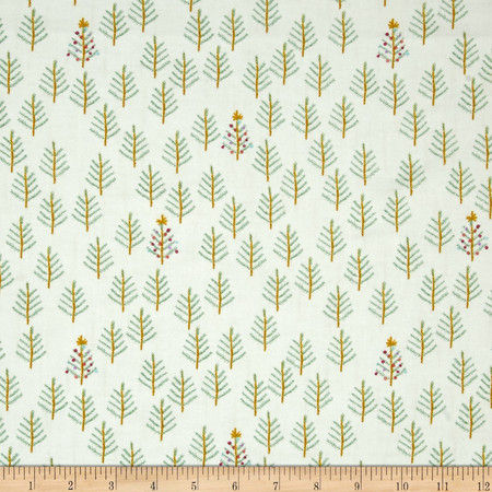 Cotton + Steel Tinsel Brushed Cotton Twill Tree Cream Fabric By The Yard
