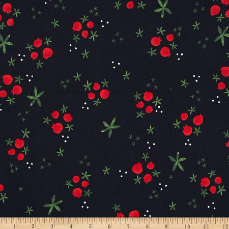 Cotton + Steel Tinsel Buds Navy Fabric By The Yard