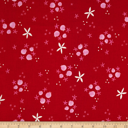 Cotton & Steel Tinsel Buds Red Fabric