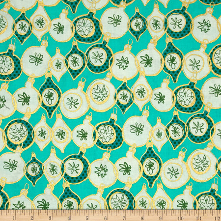 Cotton & Steel Tinsel Ornaments Teal Fabric