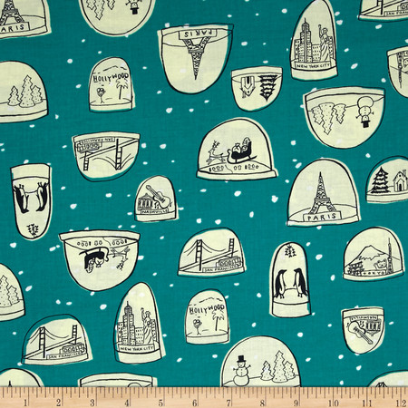 Cotton & Steel Tinsel Snow Globe Teal Fabric