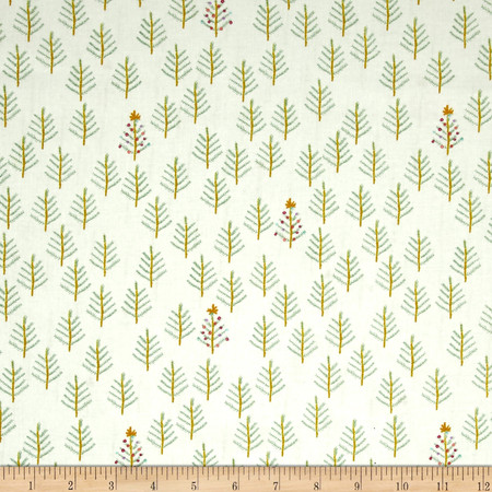 Cotton + Steel Tinsel Tree Cream Fabric By The Yard
