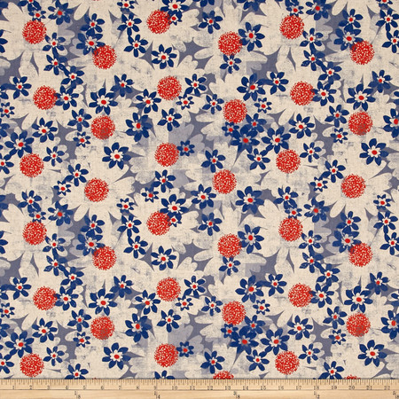Cotton + Steel Trinket Canvas Daisy Fields Blue Fabric By The Yard
