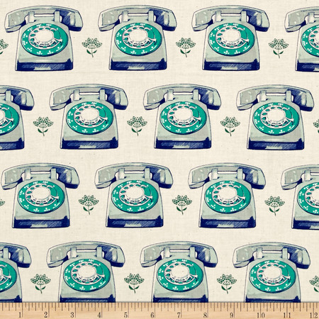 Cotton + Steel Trinket Telephones Aqua Fabric By The Yard