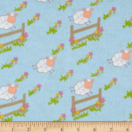 Countdown Flannel Blue Fabric By The Yard