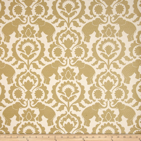 Covington Babar Elephants Jacquard Sand Fabric By The Yard