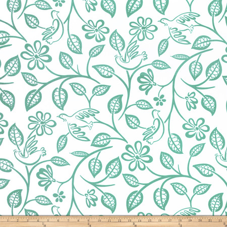 Covington Lovebirds Aquamarine Fabric By The Yard