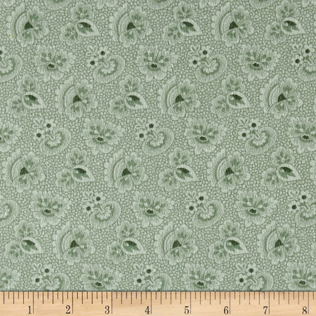 Cozies Flannel Foulard Green Fabric By The Yard