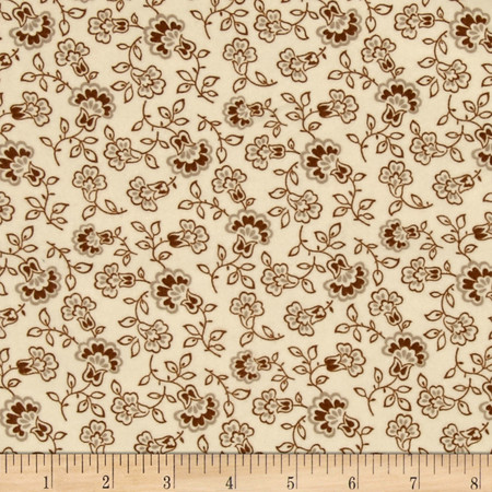 Cozies Flannel Harvest Large Flower Light Cream Fabric By The Yard