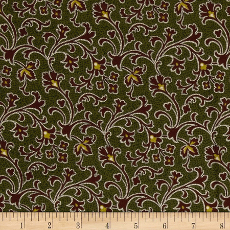 Cozies Flannel Harvest Scroll Green Fabric By The Yard