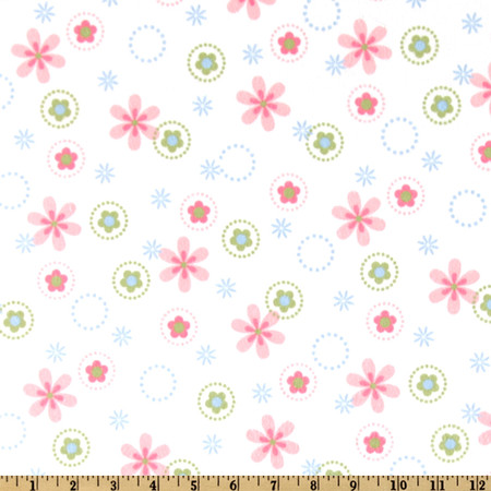 Cozy Cotton Flannel Floral Pastel Fabric By The Yard