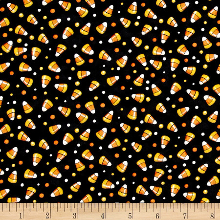 Creepy Hollow Candy Corn Black Fabric By The Yard