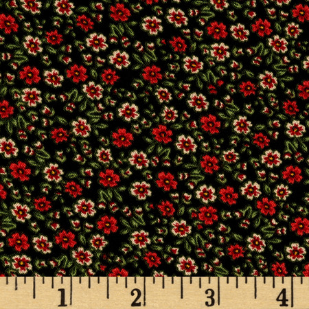 Crepe De Chine Tiny Floral Black Fabric By The Yard