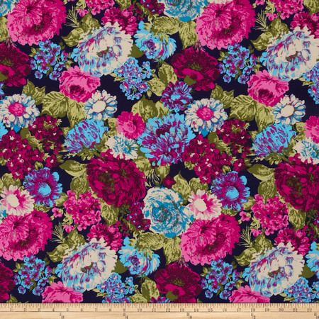 Crepe Floral Navy/Purple/Green/Blue Fabric