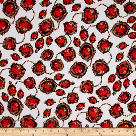 Crepe Precious Stone Link Red/White Fabric By The Yard