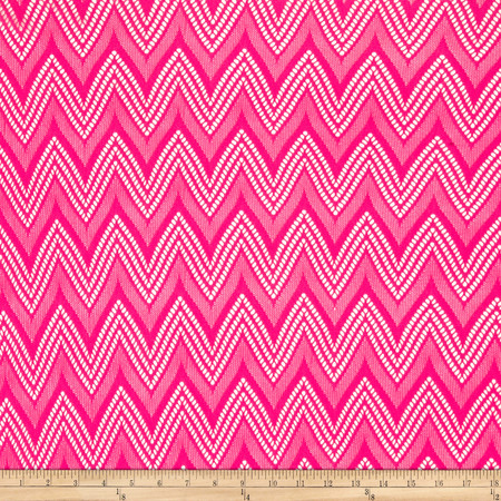 Crochet Lace Chevron Neon Pink Fabric By The Yard