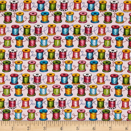 Cute As a Button Spools Pink Fabric