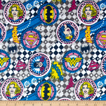 DC Comics Girl Power II Badges Flannel Grey Fabric By The Yard