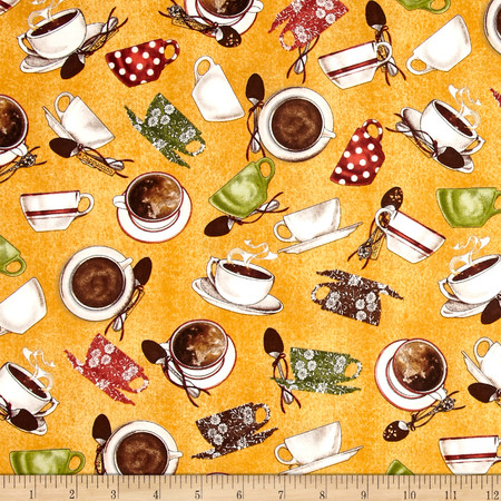 Daily Grind Coffee Cups & Saucers Gold Fabric By The Yard