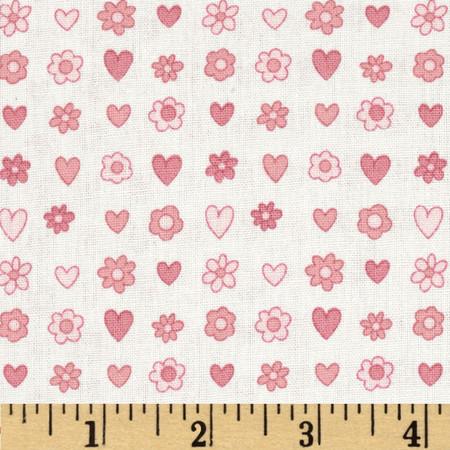 Daisies & Hearts Mauve/Pink Fabric