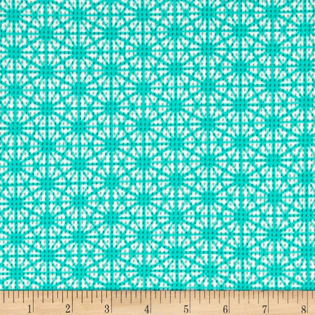Daisy Printed Pique Knit Aqua/Ivory Fabric By The Yard