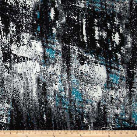 Dakota Jersey Knit Abstract Print Turquoise/Black/White Fabric