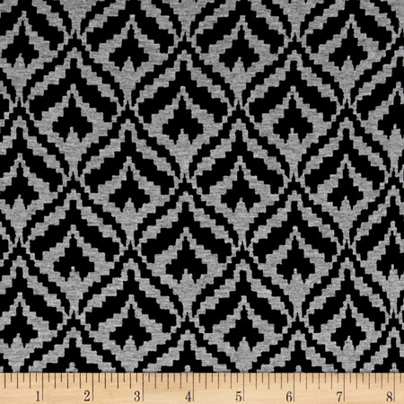 Telio Dakota Stretch Rayon Jersey Knit Peacock Print Black/Grey Fabric By The Yard
