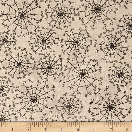 Dancing in the Shadows Spider Webs Cream Fabric