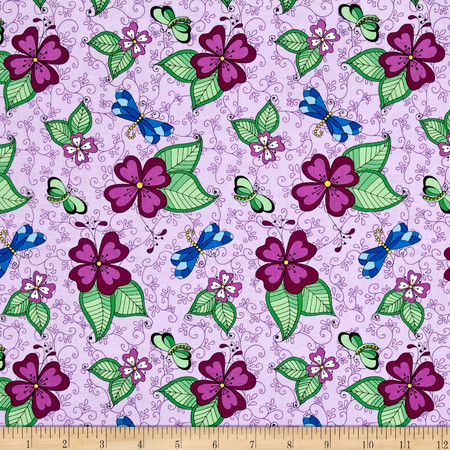 Day Of The Dragonfly Med. Floral With Butterfly & Dragonfly Lilac Fabric By The Yard