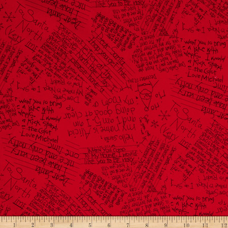 Dear Santa Letters To Santa Red Fabric By The Yard