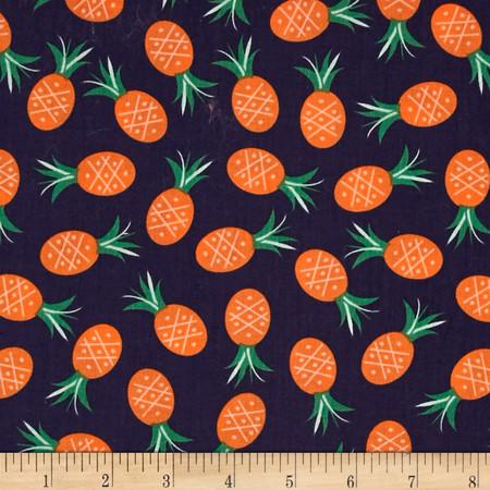 Dear Stella Bay Breeze Pineapples Navy Fabric