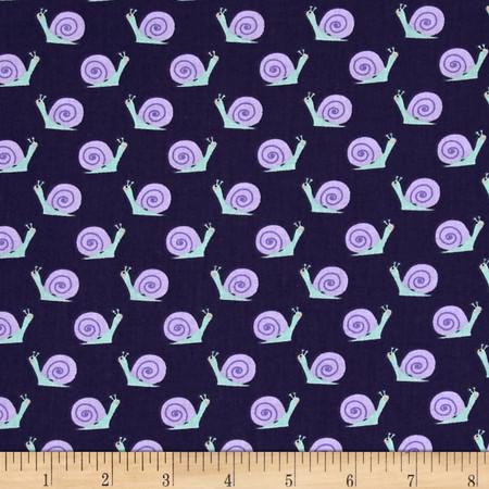 Dear Stella Bay Breeze Snails Navy Fabric