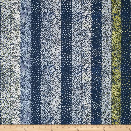 Dear Stella Floral Daze Dotted Stripe Navy Fabric