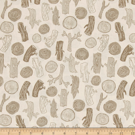 Dear Stella Foxtail Forest Woodcut Tan Fabric By The Yard