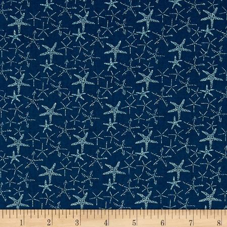 Dear Stella Life Aquatic Starfish Deep Aqua Green Fabric By The Yard
