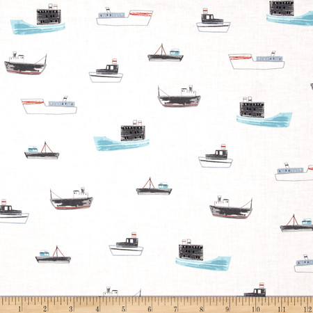 Dear Stella On My Way Ship Shape Multi Fabric By The Yard