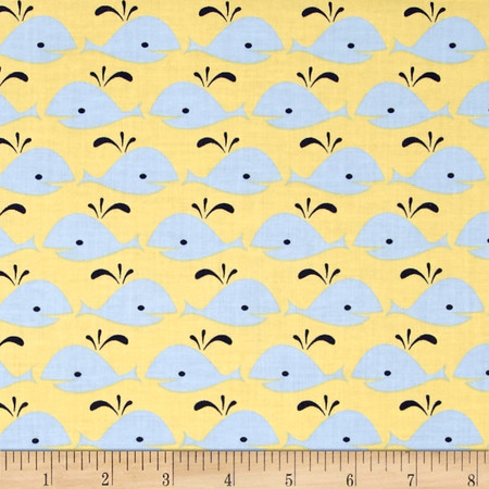 Dear Stella Rock Lobster Whales Yellow Fabric By The Yard